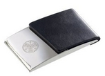 Paris Card Case – Black PU & Polished Metal