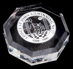 Octagon crystal paperweight